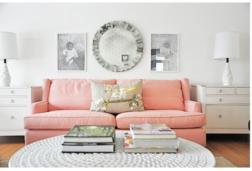 Color Obsessed: Pale Pink Couch  {Rose Gold Blog}