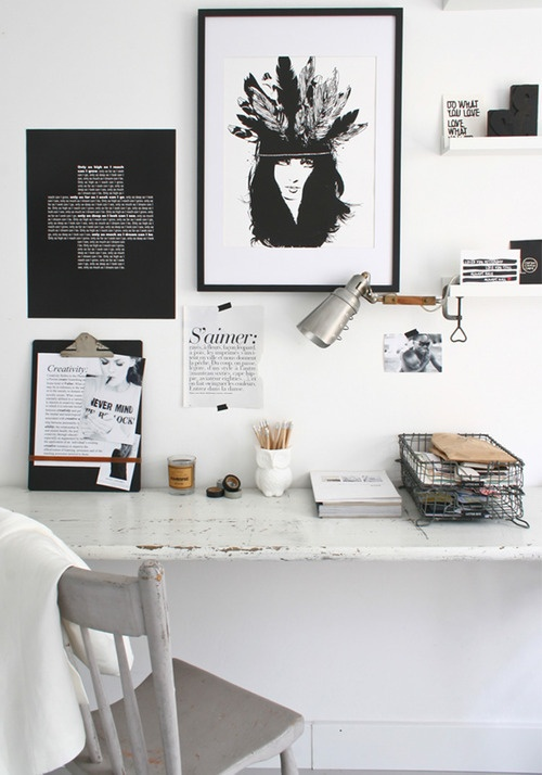 Inspiration Board: Modern White Home Office {Rose Gold Walls Blog}